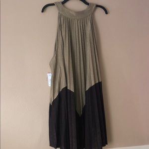 Free People size L full pleat gold and deep bronze
